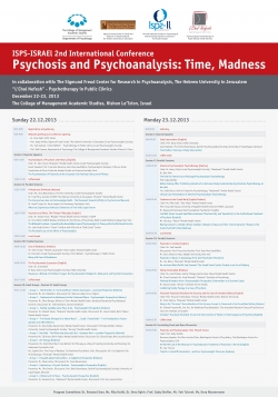 Past events - Psychosis & Psychoanalysis: Time, Madness